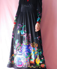 【tiny yearn】1970's Euro Flower Black Maxi Dress