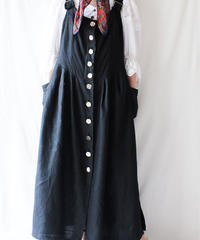 【Seek an nur】Euro Black Linen Tyrol Dress