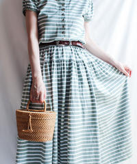 【Seek nur】Border Cotton Jersey Dress