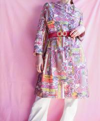 【tiny yearn】70's Art Pattern  Box Dress