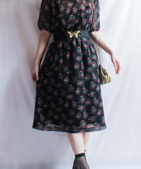 【Seek nur】Black Flower Sheer Dress