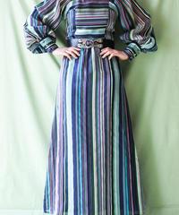 【tiny yearn】1970's Euro Mulch Stripe Maxi Dress