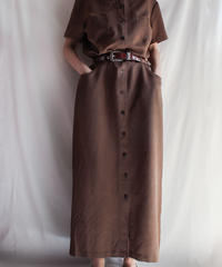 【Seek nur】Dark Brown Long Shirt Dress