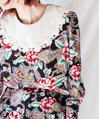 【Seek nur】Bib collar Flower×Paisley Flare Dress