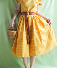【tiny yearn】Yellow Stripe Flare Dress