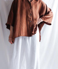 【Seek nur】Brown Silk Over Blouse
