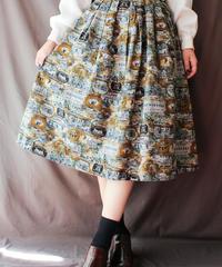 【Seek nur】Landscape Pattern Flare Skirt