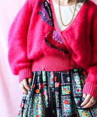 【tiny yearn】Euro Cache coeur Design Mohair Cardigan