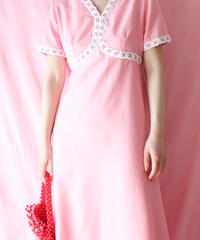【tiny yearn】1970's Pink Lace Maxi Dress