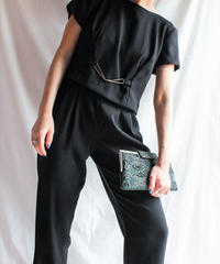 【Seek nur】Back Cutting Black  Jumpsuit