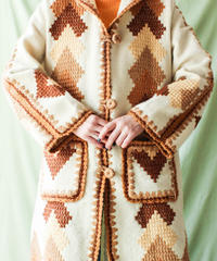 【tiny yearn】1970's Embroidery Hoodie Knit Coat