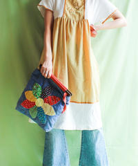 【tiny yearn】1970's Bicolor Flare Cotton Dress
