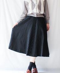 【Seek nur】Pin Stripe Flare Wool Skirt