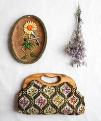 1970's Gobelins Tapestry Wood Hand Bag