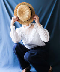 【Seek an nur】France Stripe Frill White Blouse