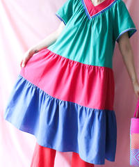 【tiny yearn】Mulch Color Tiered Flare Dress