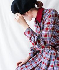 【Seek nur】Mulch Check Pleats Shirt Dress