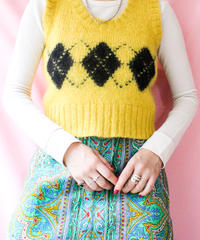 【tiny yearn】Vintage Argyle Mohair Knit Vest