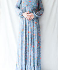 【Seek nur】1970's Rose Pattern Maxi Dress