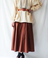 【Seek nur】Brown Velour Flare Skirt