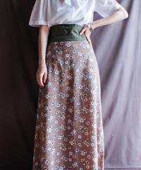 【Seek nur】Flower Pattern Long Skirt