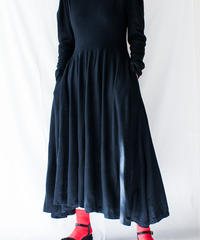 【Seek nur】Black Flare Wool Jersey Dress