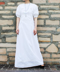 【Seek an nur】Euro Embroidery White Maxi Dress