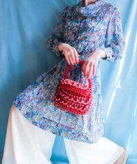 【tiny yearn】70's Art Pattern Sheer Dress