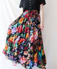 【Seek an nur】India Cotton Flower Maxi Skirt