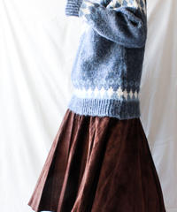 【Seek nur】Dark Brown Suede Flare Skirt
