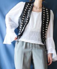 【Seek an nur】France Leather Short Vest