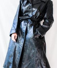 【Seek nur】Black Leather Long Coat