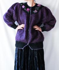 【Seek nur】Euro Flower Embroidery Mohair Cardigan