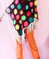 【tiny yearn】1970's Colorful Fringe Knit Poncho