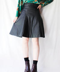 【Seek nur】High waist Leather Flare Skirt