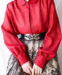 【Seek an nur】Euro Metallic Stripe Sheer Blouse