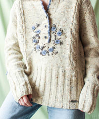 【tiny yearn】Euro Flower Mix Knit Sweater
