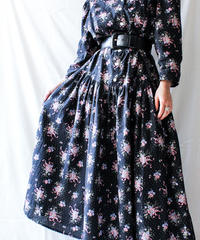 【Seek nur】Flower Puff Sleeve Flare Dress