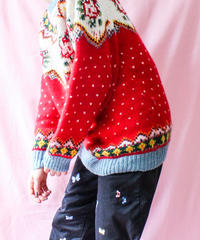 【tiny yearn】Flower×Heart Colorful Nordic Sweater