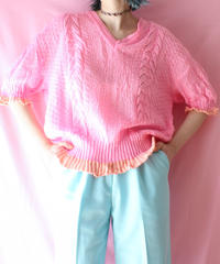 【tiny yearn】Euro Neon pink Knit Sweater