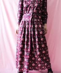 【tiny yearn】Scrap collar Flower Long Dress