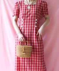 【tiny yearn】Big Check  Long Dress