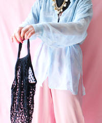 【tiny yearn】France Flower Sheer Long Blouse