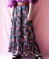 【tiny yearn】Euro Flower Frill Maxi Skirt