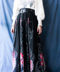 【Seek nur】Euro Flower Sheer Maxi Skirt