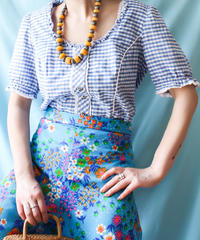 【tiny yearn】Euro Gingham check Tyrol Blouse