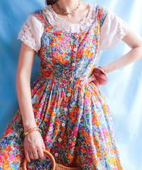 【tiny yearn】Art  Flower Jumper Skirt