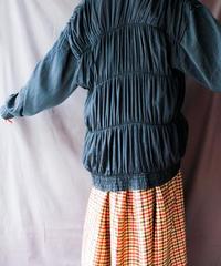 【Seek nur】Gather Design Black Over Jacket