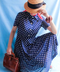 【tiny yearn】1970's Polka Dot Shirt Dress