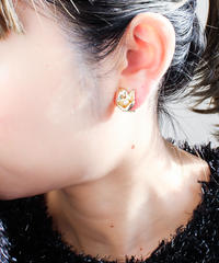 Vintage Gold Flower Perl Earring